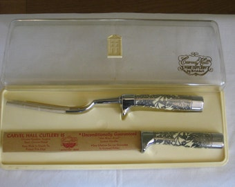 Carvel Hall Carving Cutlery Set, Vintage Ornate Silver Overlay Pattern over creamy white Lustrex Handle, Original Hard Plastic Case Briddell