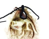 Dinosaur Bone Fossil Macrame Wrapped Necklace