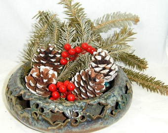 Double Wall Planter Rustic Holly Leaf Holiday Pillar Candle Holder