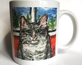 Adorable gray tabby cat on ceramic mug, 9.5cm tall, 8cm wide (tax included)