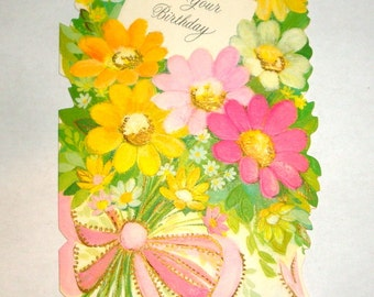 Vintage Greeting Card, For Your Birthday, Floral Bouquet, Embossed Pink and Yellow Flowers, Scrapbook, Paper Projects, Hallmark  (203-16)