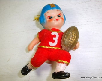 Vintage Christmas Tree Ornament, Football Player in Red Flocked Jersey and Pants, Number 3, Sports, Retro Holiday Decoration  (839-15)