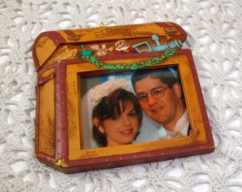 Vintage Christmas Ornament, Hallmark Our Family Keepsake , Christmas Is Meant To Be Shared, Photo Holder, Treasure Chest, 1995  (924-15)