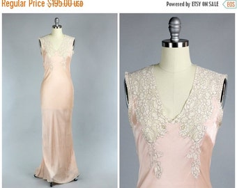 RESERVED Perle D'Or 1930s Silk Charmeuse Gown with French Lace / 1930s Lingerie