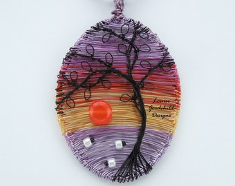 Sheep pendant, wire tree pendant, sunset pendant, sheep necklace, sunset jewelry, nature inspired, copper anniversary, wire art pendant