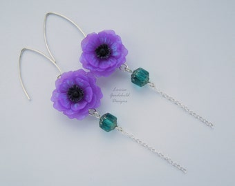 Purple Windflower earrings, anemone earrings, purple flower earrings, sterling silver, purple and teal, Mothers Day