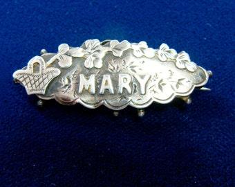 1894 BIRMINGHAM ENGLAND Sterling Silver 'Mary' Brooch