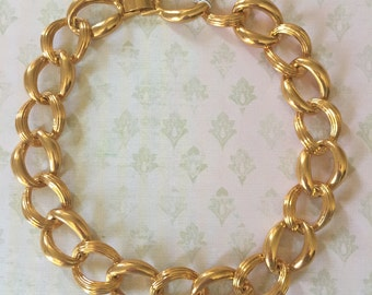 Vintage Old New Stock Heavy Gold-tone Collar Necklace
