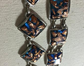 Vintage Chunky blue lucite Copper confetti Necklace Bracelet set