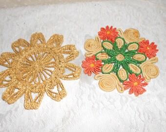 Woven Straw Trivet, Pot Holder, Coaster set of 2