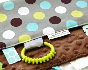 Baby Boy Tag Blanket, Sensory Lovey, Ribbon Blanket,  Grey Polka Dot