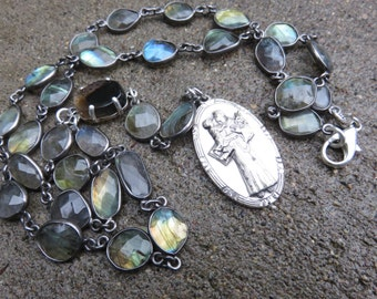 Sterling Labradorite Rosary style necklace with a Sterling Creed religious medal   Agate connector