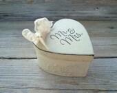 Mr & Mrs ivory ring box . distressed heart shaped ivory ringbearer box . rustic wedding . ivory and lace ringbearer box