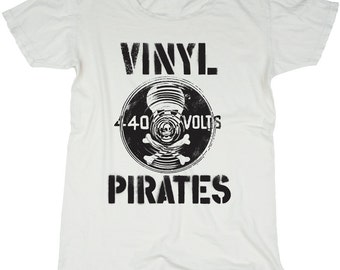Vinyl Pirates, 100 Percent Cotton T-shirt, Vintage White, womens medium