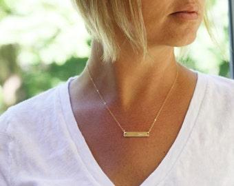Gold Bar Necklace, Coordinates, Coordinate Necklace, Coordinates Jewelry, Delicate Gold Necklace, GPS Necklace, Longitude, Latitude, Custom