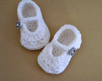 Baby Girl Shoes, White MaryJanes, Christening Shoes,  5 Sizes Available