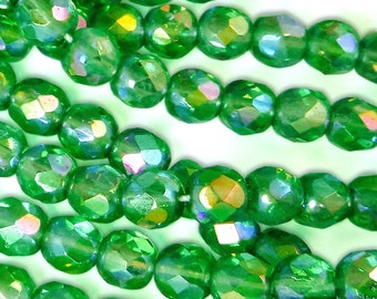 50 pcs 6 mm Glass Beads Apple Green Ab Faceted Round Czech Fire Polished B-73