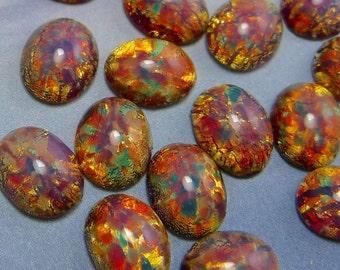 10 pcs Opal Vintage Glass Cabochon 10x8 mm Pink Fire  Stones S-306 R