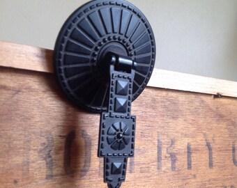 Vintage Round Black Metal Drawer Pull / Knob. Studded and Striped Pattern.