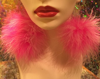 Hot Pink & Light Pink Mix Fluffy Pom Pom Earrings