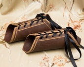 MEDIUM brown leather short pointy Bracers black laces Cuffs Gauntlets Cosplay Costume (PAIR) hard leather archery cuffs larp archer tribal