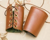 SMALL chestnut brown pleather Bracers with gold grommet and brown lace Cuffs Gauntlets Vanguards Cosplay Costume (PAIR)