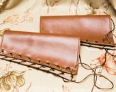 LARGE chestnut rustic brown pleather Bracers Brass Grommets and brown Lace Cuffs Gauntlets Vanguards Cosplay Costume (PAIR)