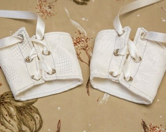 SALE! small brocade white wedding bridal Cuffs with Cream Lace Brass Grommets and Brown Laces (PAIR)