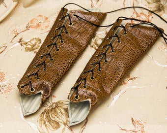 SMALL reptilian brown pleather Long Pointy Bracers with brass and Black Ribbon Laces (PAIR) reptilian hide armor dnd dungeons and dragons