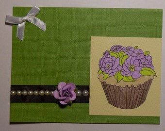 Green Cupcake Birthday Card