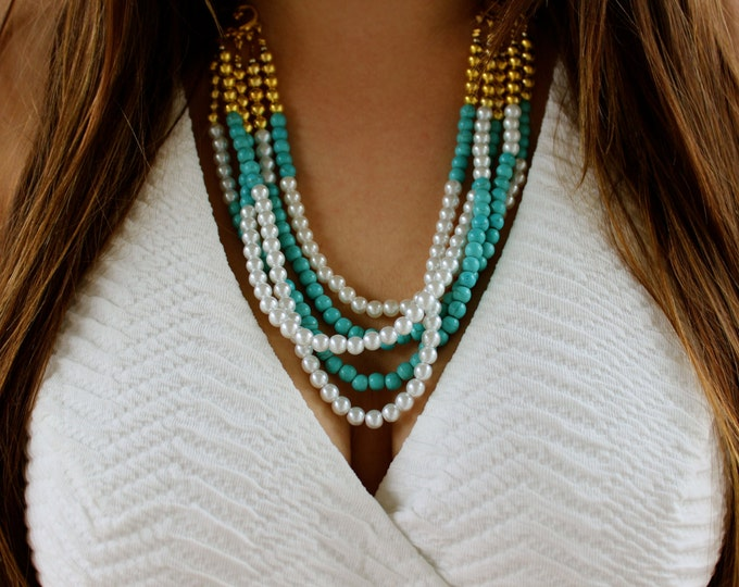 Turquoise Pearl and Gold Beaded Layered Necklace.