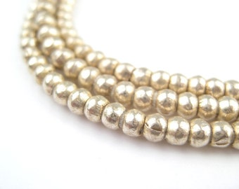 225 Round White Metal Ethiopian Beads 3-4mm - African Silver Beads - Jewelry Making Supplies - Made in Ethiopia + (MET-RND-SLV-273)