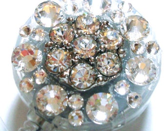 Clear Rhinestone and Swarovski Crystal Embellished Swivel-Back ID Badge Reel