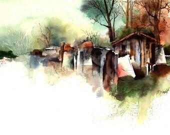 Watercolor - Original watercolour - Washing day