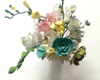 bridal bouquet, Paper Flower Bouquet, paper flowers, wedding flowers, bridesmaids bouquet, paper freesia, paper rose