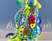 The King of the Crazy Chickens - Statement focal bead- Glass Art - Lampwork - by Michou P. Anderson