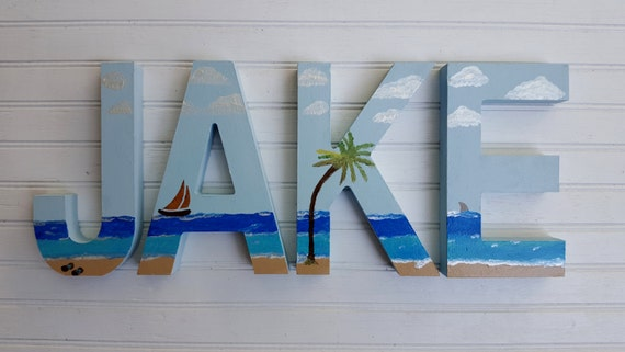 Beach Wall Decor - Beach Theme - Painted Wall Letters - Childrens Room - Nursery Letters - Beach Letters