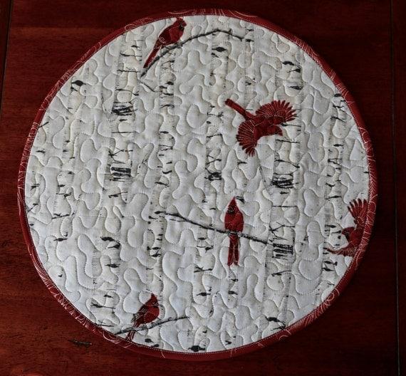 MarveLes PLACEMAT Quilted Round Placemat Winter by marveles