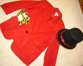 Ringmaster circus lion tamer sz 2X red jacket top hat  women's Halloween costume plus size