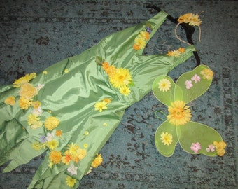 Halloween costume forest FAIRY fantasy woodland dress wings womens size 20 unique one of a kind recycled cosplay fairy plus size Mardi Gras