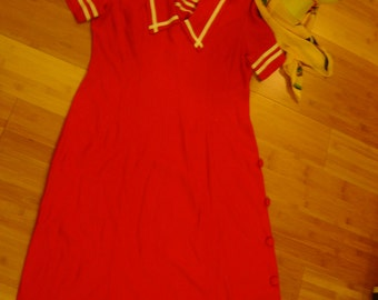 Costume Military sailor red dress sequin hat scarf womens sz 10 12 Halloween