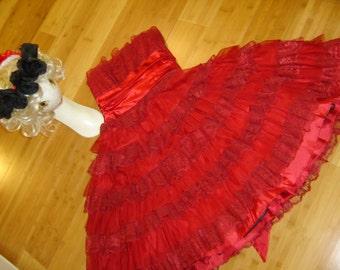 Day of the Dead SPANISH dancer flamenco red ruffled dress  womens sz S Halloween