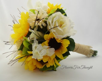 Rustic Sunflower bouquet with burlap, Cream and Yellow Wedding flowers