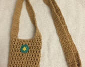 crochet water bottle holder carrier light brown long cotton machine washable gift idea drink hiking walking sippy cup