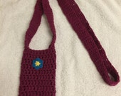 crochet water bottle holder carrier burgundy long cotton machine washable gift idea drink hiking walking sippy cup