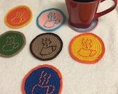 CROCHET coaster cofffe cup pattern orange pink brown green gift idea kitchen home decor CT,USA