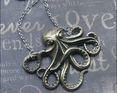 Octopus Necklace Brass Octopus Jewelry Nautical Necklace Tentacles Statement Necklace Unisex Necklace Octopus Pendant Antiqued Octopus Gift