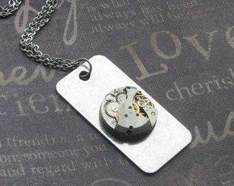 Dog Tag Necklace, Steampunk Jewelry, Silver Dog Tag, Watch Movement, UNISEX Gift, Vintage, Steampunk, Silver Chain, Enchanted GIFT ROCKER