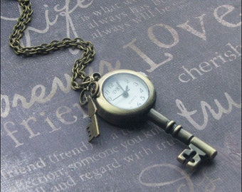 Key Watch Necklace, Brass Key Pendant, Working Watch Necklace, Steampunk Key Jewelry, Steampunk Wedding, Watch, Key Shaped Watch Necklace