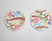 blue bird on branch set of 2 tea bag holder ring dish